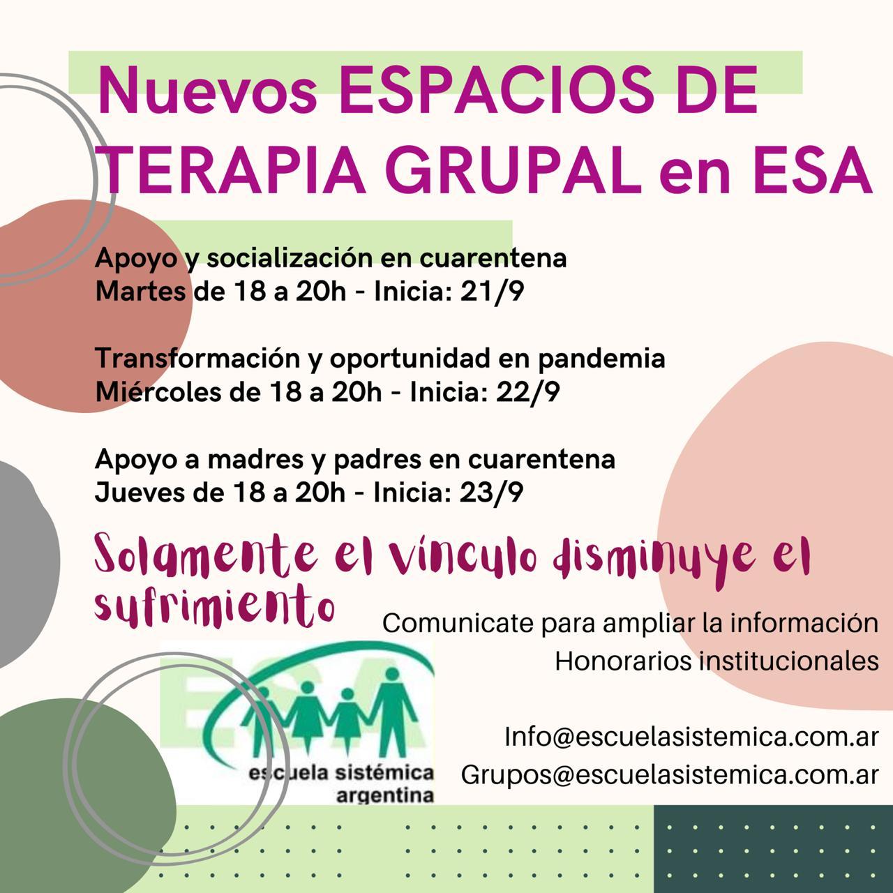 Espacios de terapia grupal en ESA